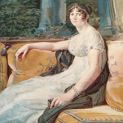 Tapisserie des Gobelins, d'après un portrait de l'Impératrice par Gérard (détail) Auguste-Amélie de Bavière, par Appiani (détail) © Corinne Martin-Rozès