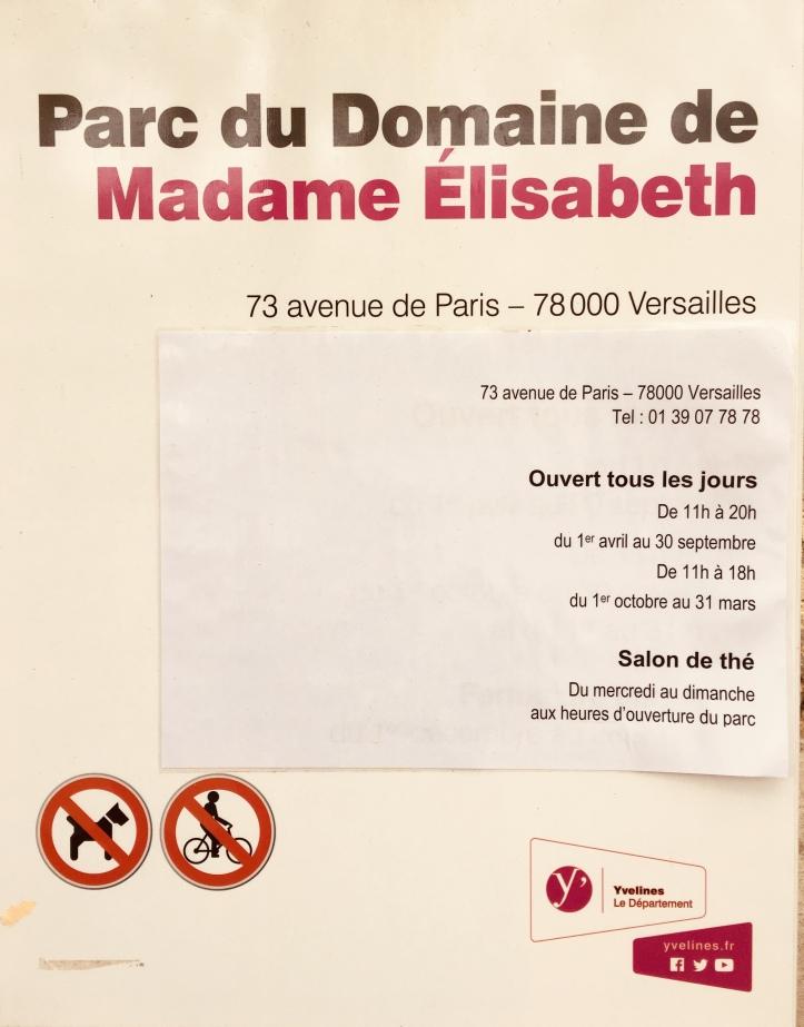 Horaires parc de Mme Elisabeth