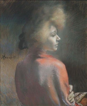 Albert Besnard (1849-1934), Le Châle rouge, avant 1920, pastel, 60 x 49 cm, Collection privée. Photo © Th.Hennocque