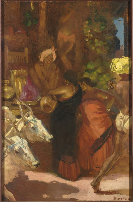 Albert Besnard (1849-1934), Marchand de fruits à Madura, Inde, 1911, peinture acrylique, 90,5 x 25 cm, Paris, musée d'Orsay. Photo © RMN-Grand Palais (musée d'Orsay)